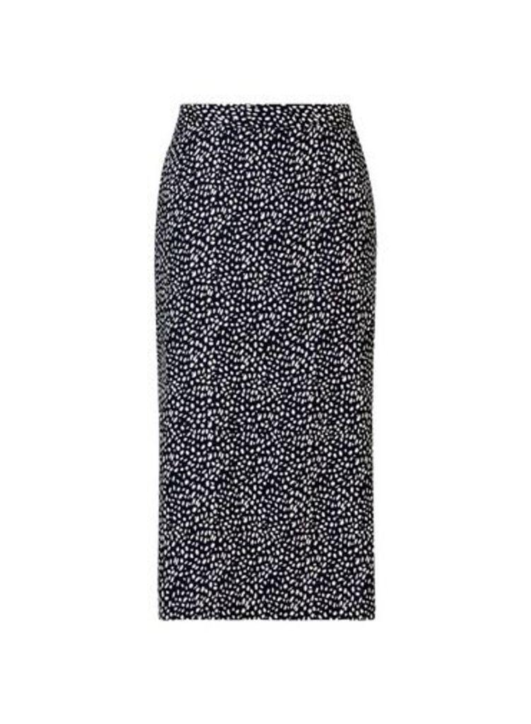 Womens **Black Belted Pencil Skirt- Black, Black