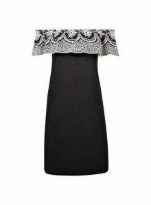 Womens Black Broderie Frill Dress- Black, Black