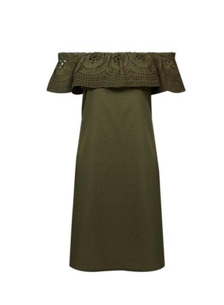 Womens Khaki Broderie Frill Cotton Dress- Khaki, Khaki