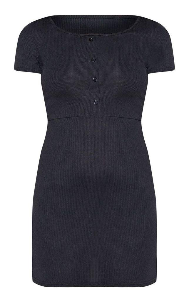 Black Rib Button Front Bodycon Dress, Black