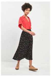 Womens Whistles Micro Floral Print Longline Skirt -  Black