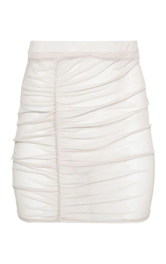 Shape Stone Sheer Mesh Ruched Bodycon Skirt, White