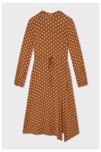 Womens Miss Selfridge Polka Dot Hanky Hem Dress -  Orange