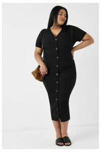 Womens Glamorous Curve Midi Dress -  Black