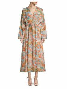 Floral V-Neck Silk Maxi Dress
