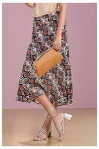 Womens Next Brown Snake Print Midi Skirt -  Brown