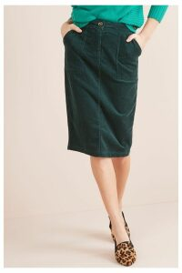 Womens Next Green Cord Pencil Skirt -  Green