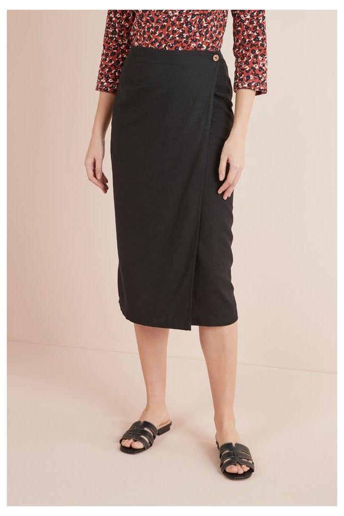 Womens Next Black Linen Blend Midi Skirt -  Black