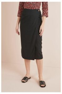 Womens Next Black Linen Blend Midi Skirt -  Black