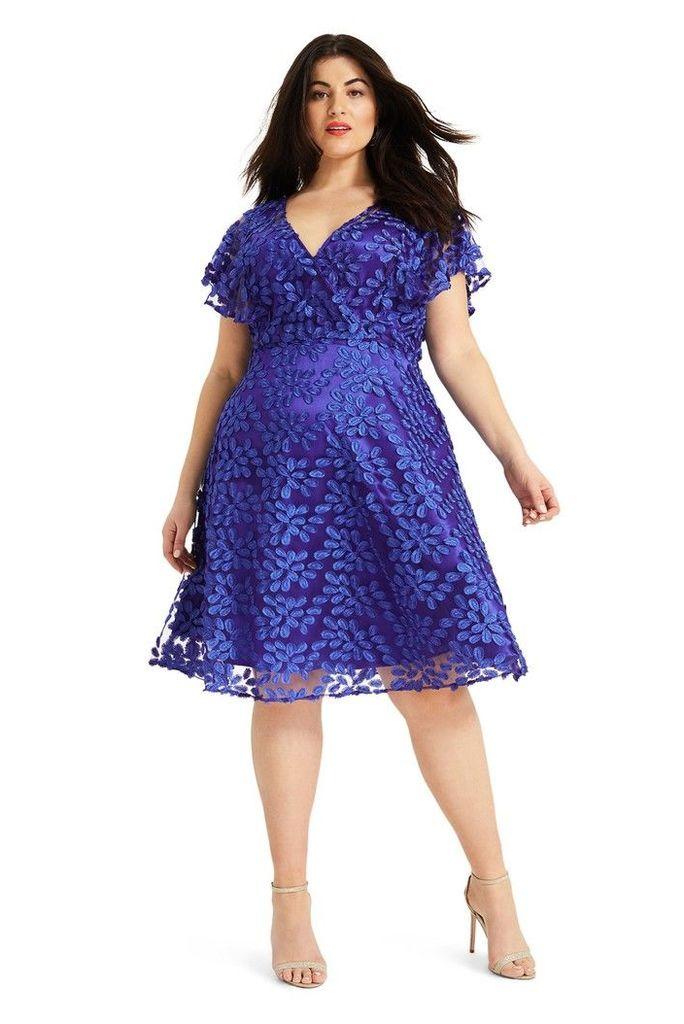 Womens Studio 8 Blue Tiana Textured Dress -  Blue