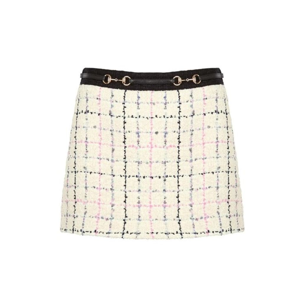 Gucci Cream Checked Bouclé Tweed Skirt