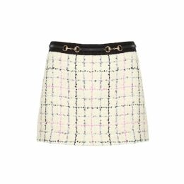 Gucci Cream Checked Bouclé Tweed Skirt