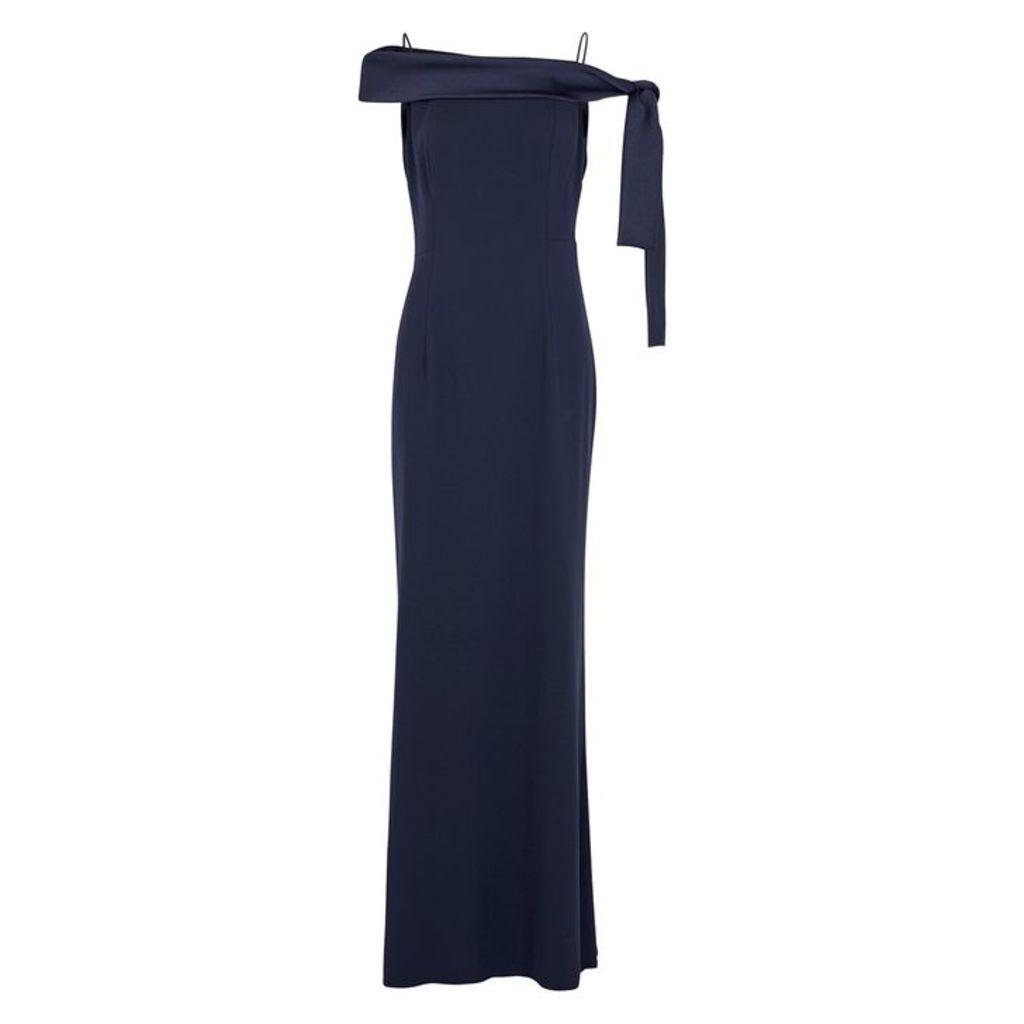 Paule Ka Navy Open-shoulder Gown