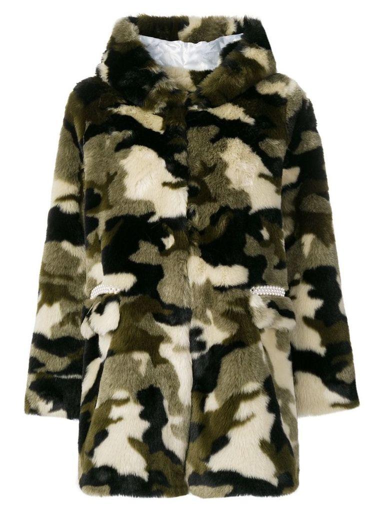 Shrimps camouflage faux fur coat - Green