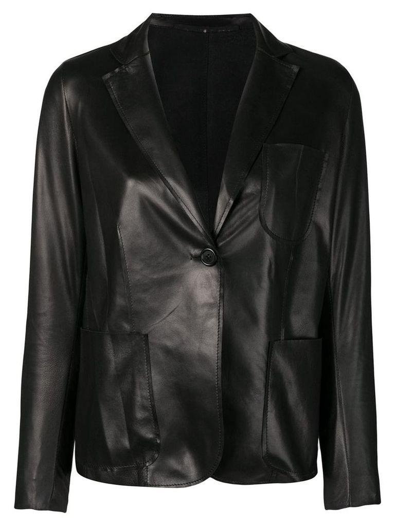 Salvatore Santoro leather structured blazer - Black