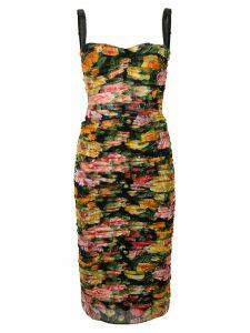 Dolce & Gabbana floral ruched dress - Black