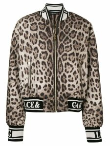 Dolce & Gabbana leopard print bomber jacket - Brown