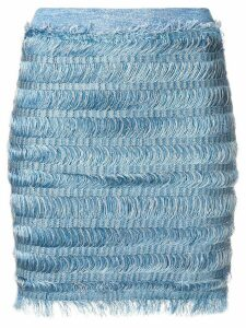 Balmain fringe pencil skirt - Blue
