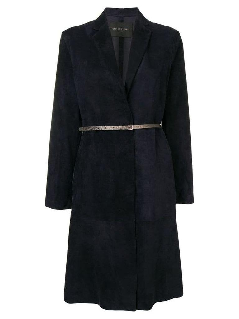 Fabiana Filippi belted coat - Blue