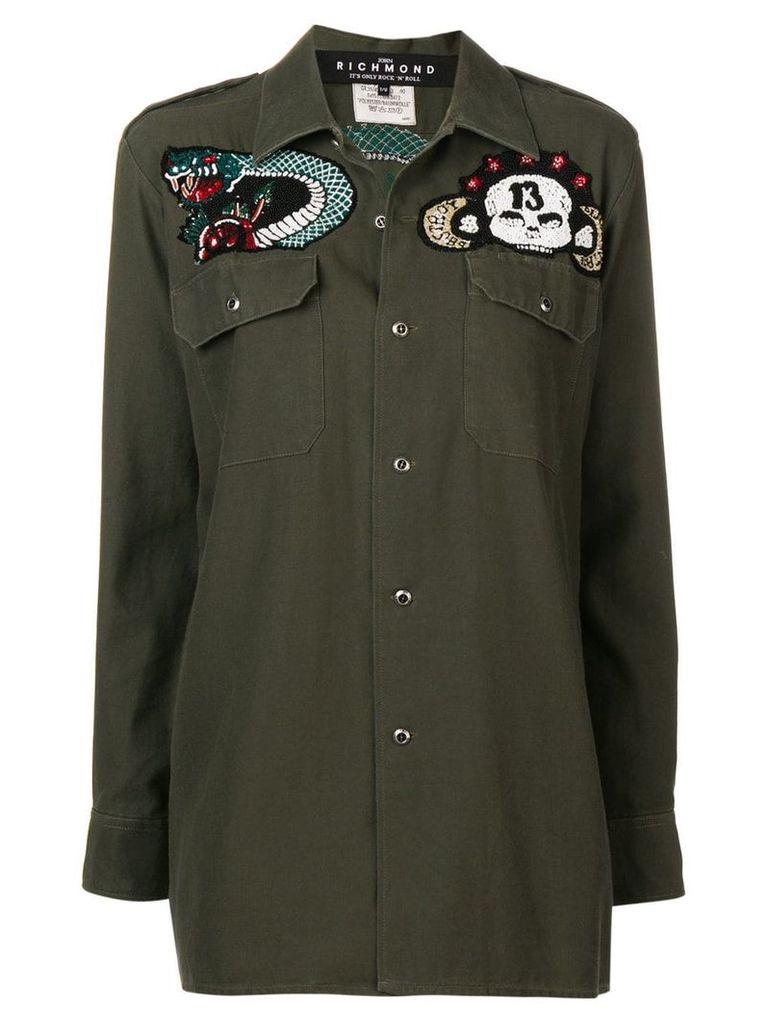 John Richmond bead embroidered military shirt - Green