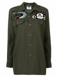 John Richmond bead embroidered military shirt - Green