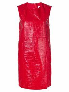 MSGM crocodile effect short dress - Red