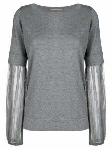 Fabiana Filippi mesh sleeves jumper - Grey