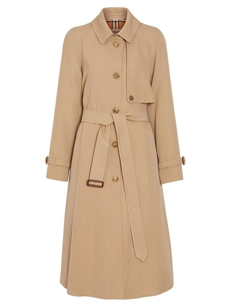 Burberry Wool Gabardine Trench Coat - Brown