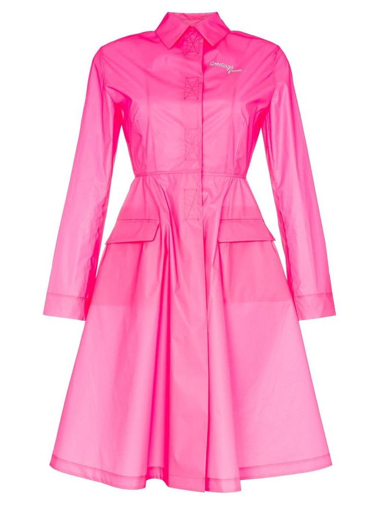 Palm Angels collared flared skirt windbreaker - Pink