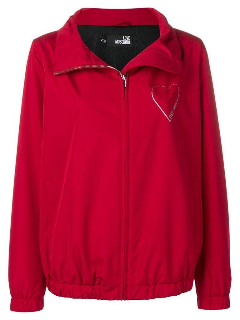 Love Moschino glitter heart raincoat - Red