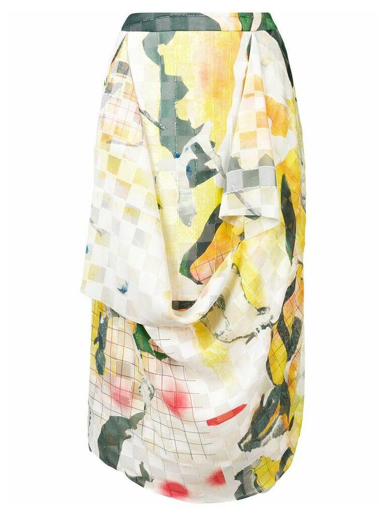 Chalayan draped printed skirt - Yellow