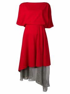 Chalayan sheer panel dress - Red