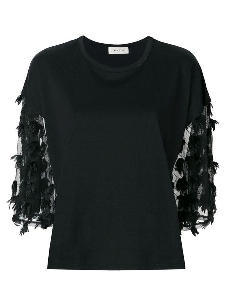 Zucca tulle sleeve T-shirt - Black