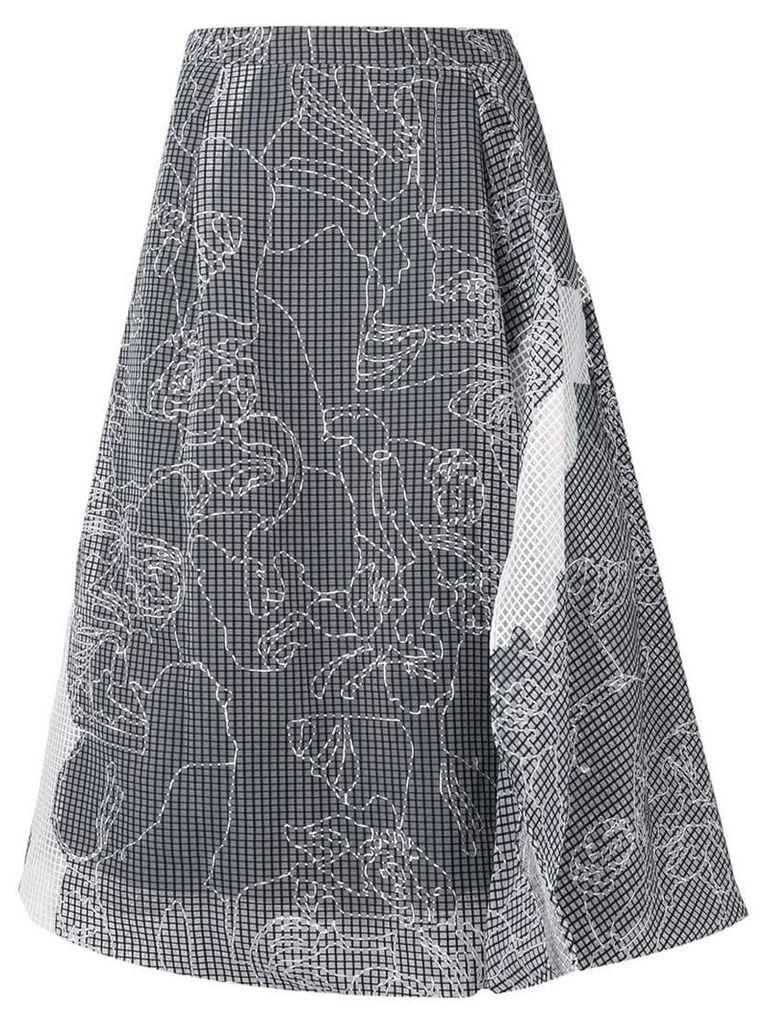 Chalayan stitch detail midi skirt - White