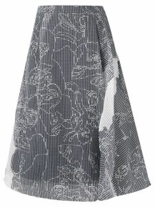 Chalayan stitch detail midi skirt - White