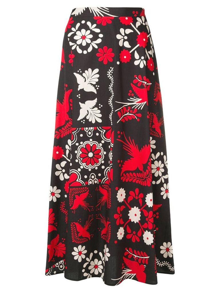 Red Valentino printed midi skirt - Black