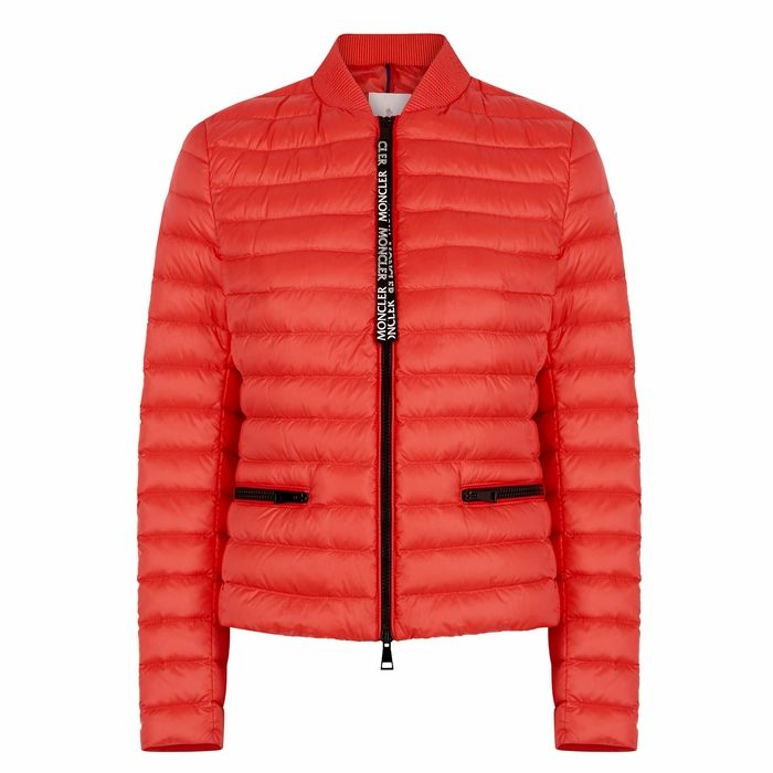 Moncler Blenca Red Quilted Shell Jacket