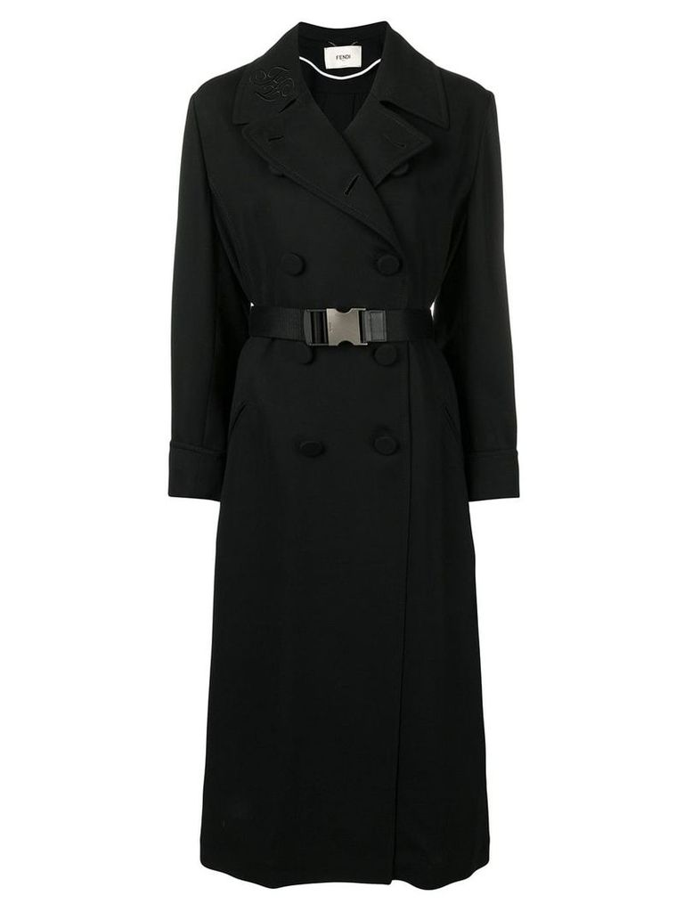 Fendi belted double breasted coat - Black