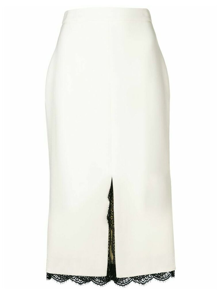 Alexander McQueen lace trimmed pencil skirt - White