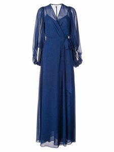 Halston Heritage long wrap evening dress - Blue