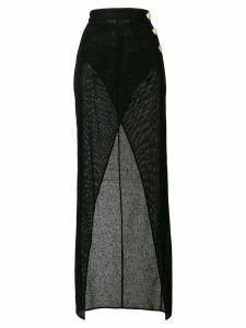 Balmain sheer thigh split skirt - Black