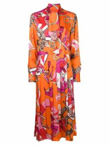 MSGM tie neck printed midi dress - Orange