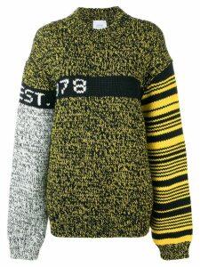 Calvin Klein Jeans Est. 1978 colour block oversized jumper - Black