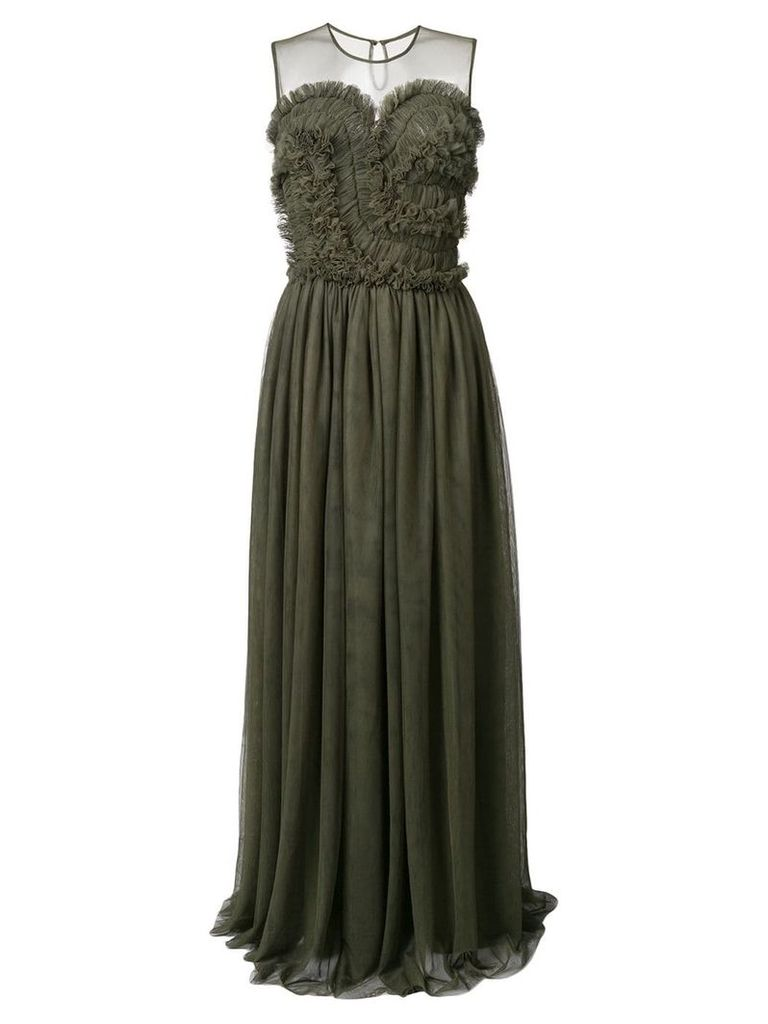 P.A.R.O.S.H. frill trim tulle dress - Green