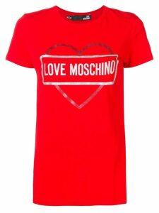 Love Moschino logo heart print T-shirt - Red