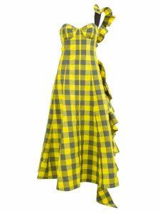 Natasha Zinko one-shoulder bustier check dress - Yellow