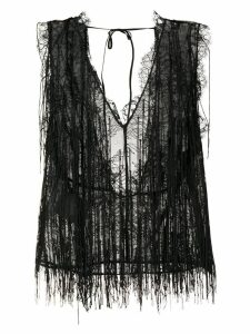 Alberta Ferretti lace pattern top - Black