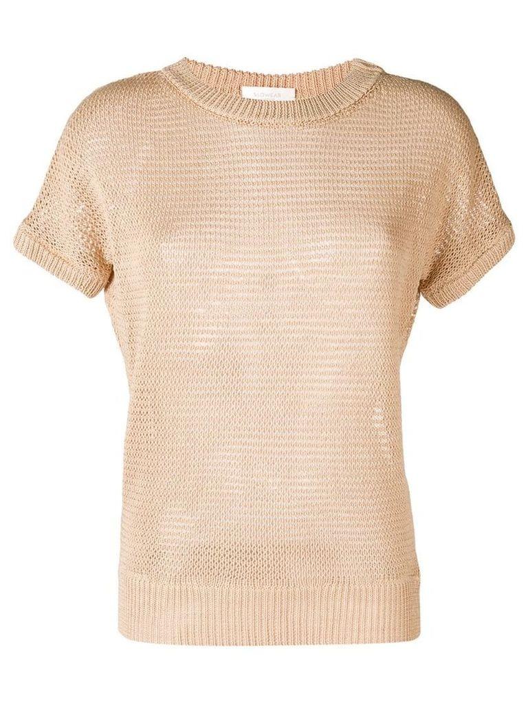 Zanone knitted short sleeve top - Neutrals