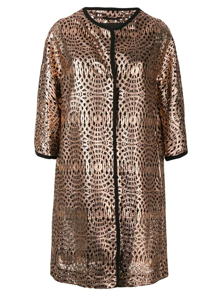 Herno patterned single-breasted coat - Pink