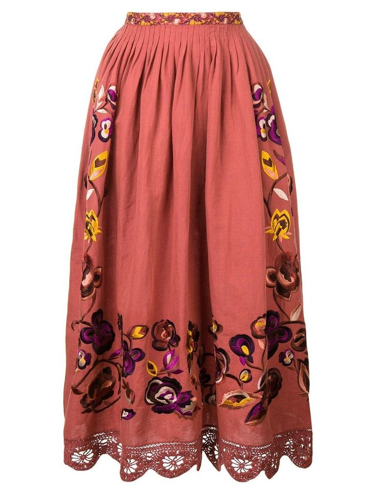 Ulla Johnson floral lace skirt - Red